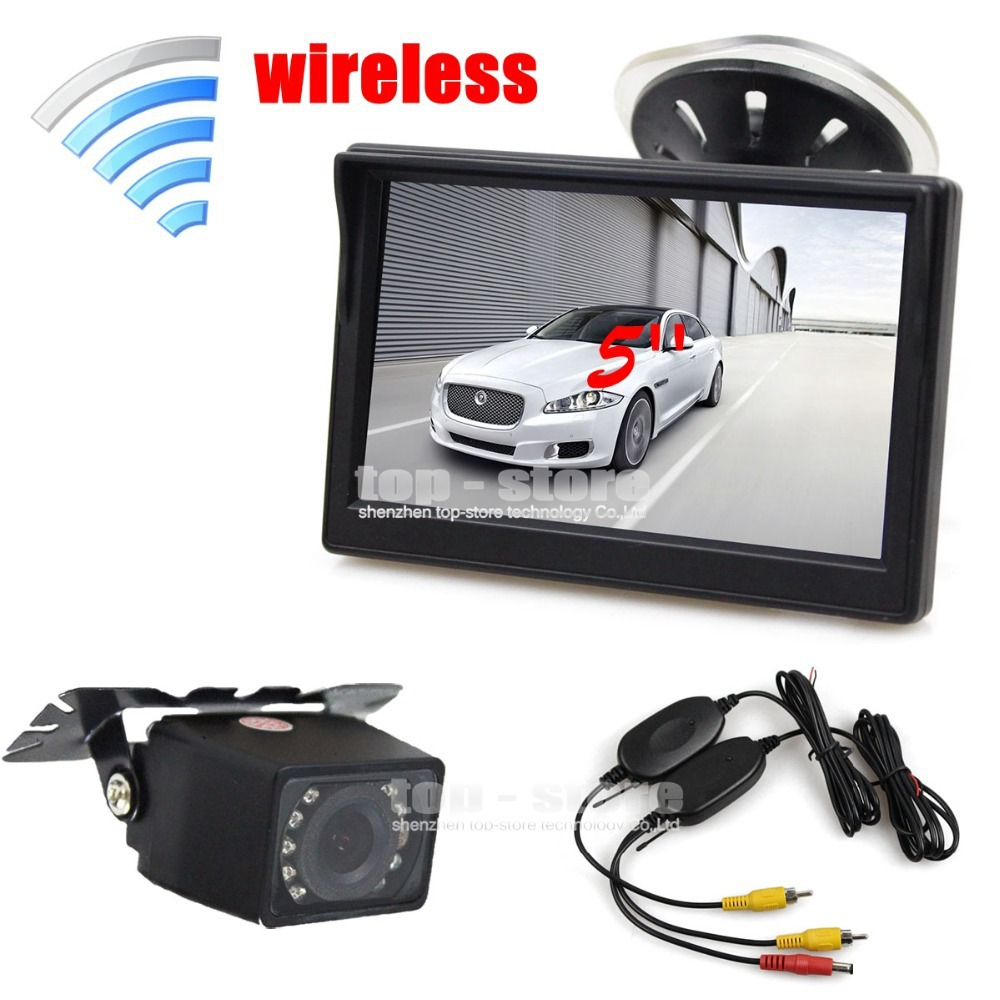 Wireless 5 inch TFT LCD Car Monitor Suction Cup and Bracket + IR Night Vision Rear View Camera Parking System(China (Mainland))
