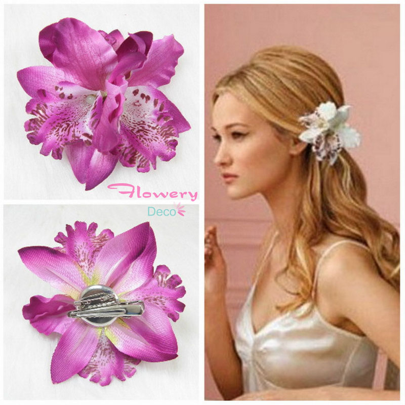2016 New Bohemia Bridal Artificial Flower Orchid Leopard Hair Clip Hairpins Barrette Wedding Decoration Hair Accessories Corsage(China (Mainland))