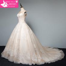 Elegant Lace A-line Wedding Dress 2017 Champagne Sheer Tulle See Through Back Bride Dresses Vestido de noiva MTOB1701(China (Mainland))