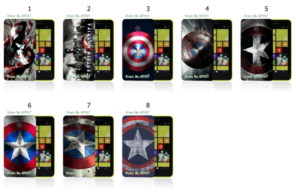 Captain America logo fashion style 8designs hybrid retail hot selling white hard cases for nokia lumia 630 free shipping(China (Mainland))