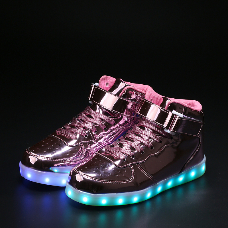High Top LED Shoes Men Tenis Led USB Charging Luminous Light Up Superstar Shoes Man Flat With Neon Basket Unisex Hot Fashion