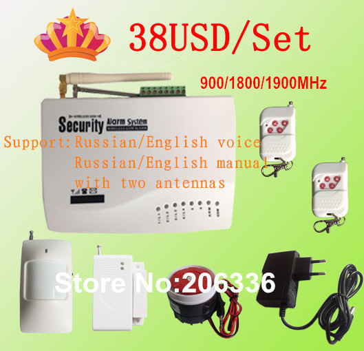 Promotion for Russian/English Voice Wireless GSM Alarm System Dual Antenna Alarm Systems Security Home Alarm(China (Mainland))
