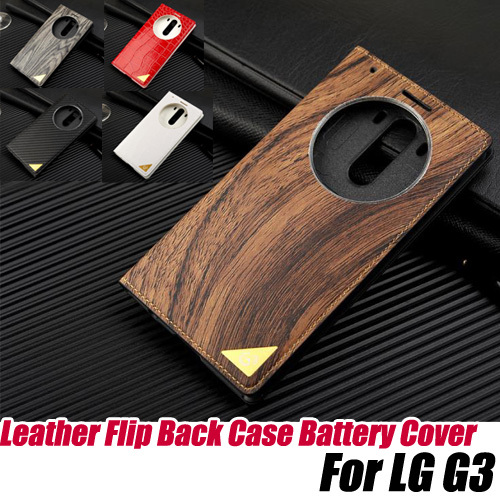 Wood & crocodile Leather Flip Back Case replacement Battery Cover for LG G3+screen protector ,free shipping(China (Mainland))