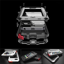 "Free Shipping 1:1 Doom armor Dirt strong Waterproof Shockproof Metal Aluminum phone case For iphone 4 4s 5 5s 5c 6 4.7"" 6 Plus"
