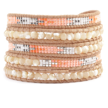 Natural Mother Pearl Mix Pink Seed bead Handcrafetd for Chan Lu u Leather 5 Wrap Bracelet for Women Men Fashion Charm Jewelry(China (Mainland))