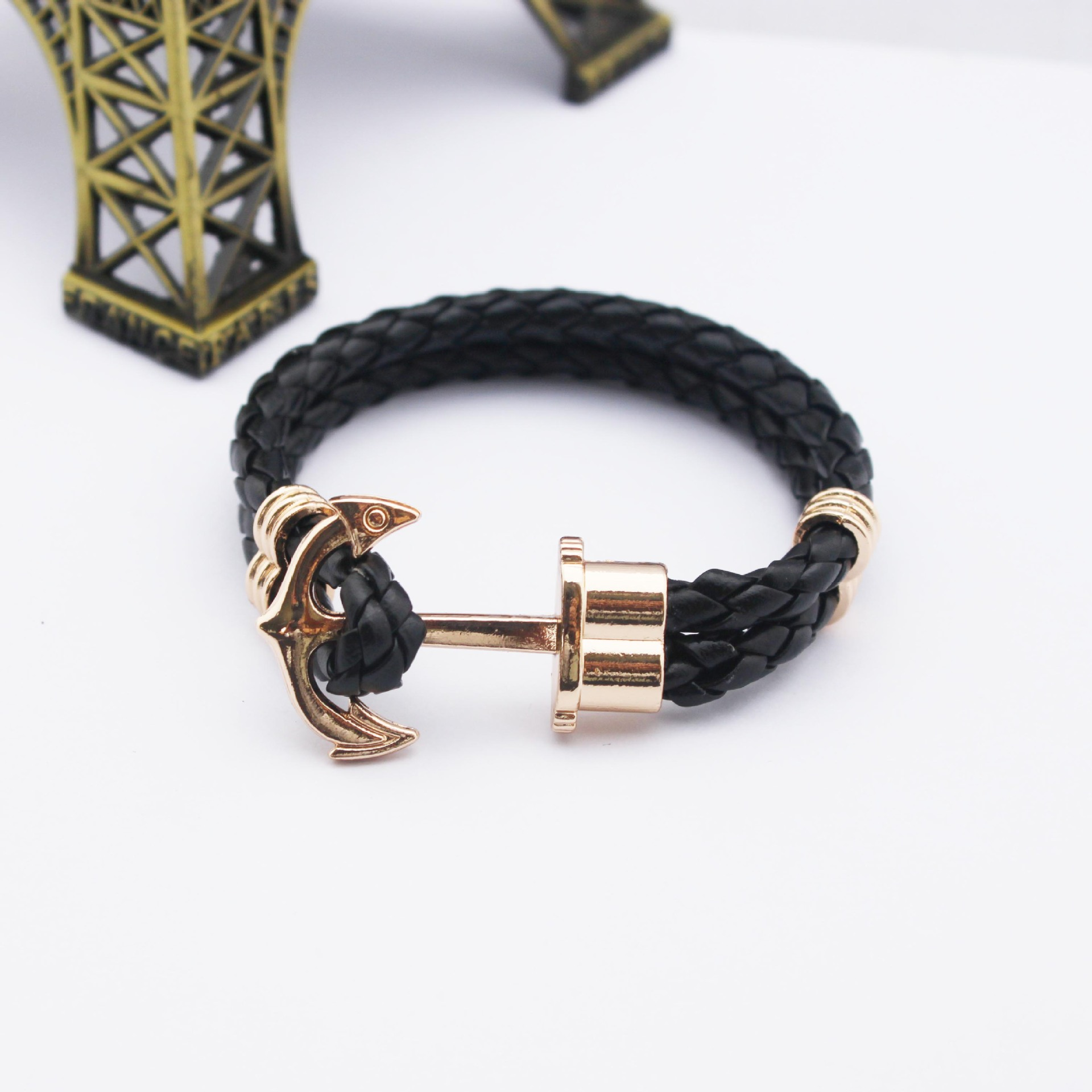 New 2015 Fashion Punk Leather Bracelet Surround Multi layer Woven Rope Leaher Mens Bracelet Jewelry
