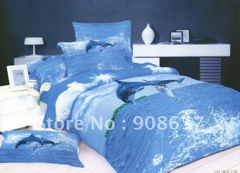 Здесь можно купить  free shipping blue sky dolphin sea pattern nature queen cotton bedding comforter quilt/duvet covers sets 4pc  Дом и Сад