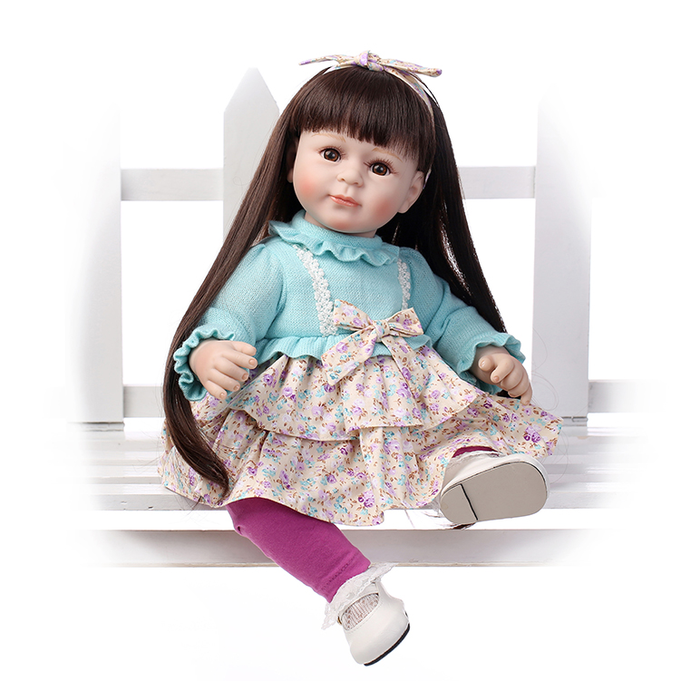 52CM lovely baby reborn dolls for girls brown long hair princess dolls baby alive boneca kids toys birthday gift