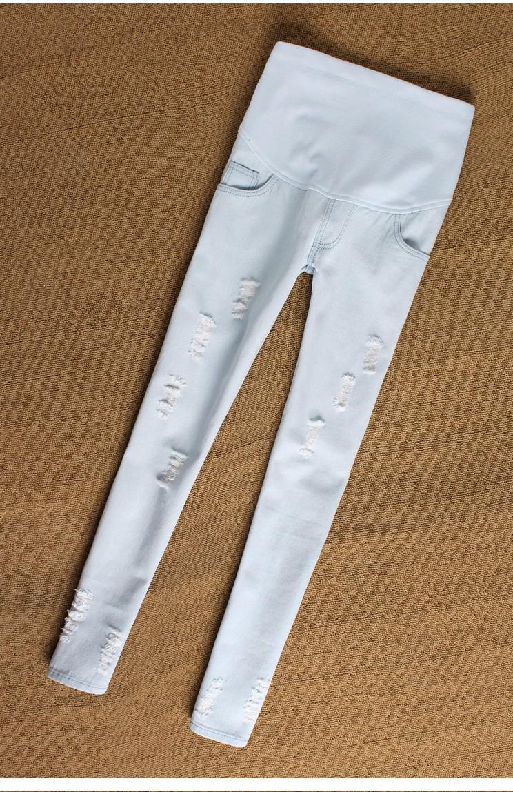 Осень лонг беременным разорвал отверстие узкие джинсы беременные женщины регулируемый пояс джинсы большой размер беременность нижние брюки одежда