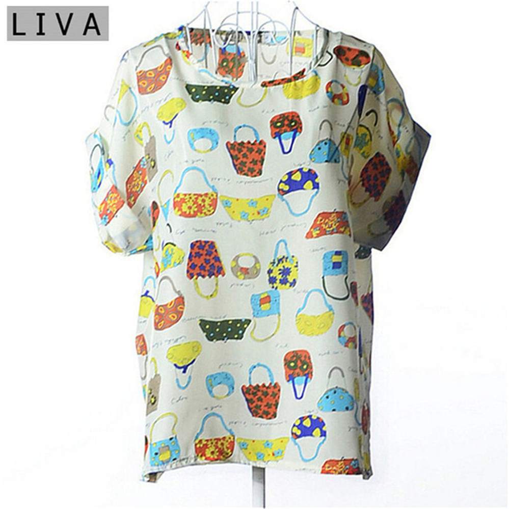 Summer Vintage Wheels Blusas Femininas Womens O-Neck Front Up Short Sleeve Blouse Sexy Multicolor Chiffon Shirt Tops Plus Size (32)