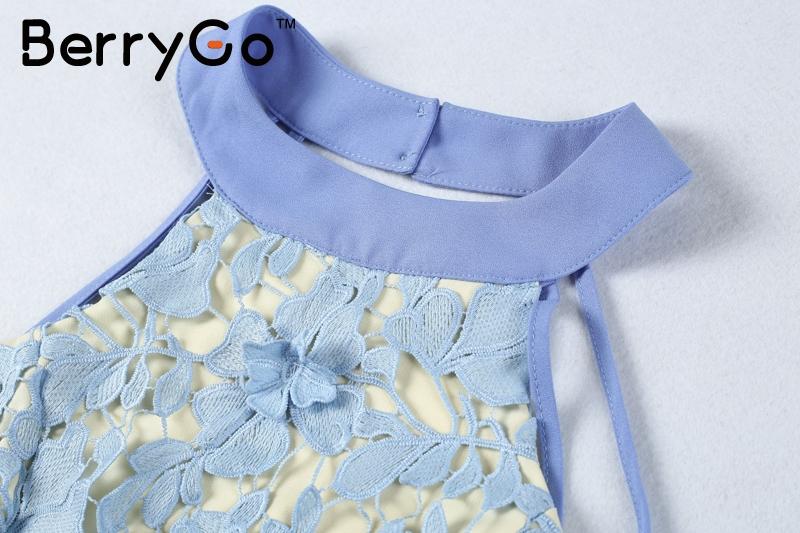 BerryGo Branco halter rendas sem encosto sexy vestido sem mangas Mulheres elegante vestido curto Outono oco out beach mini vestido vestidos