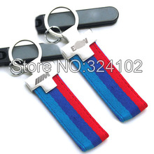 Mtech M Blue Red Canvas Metal Keyring Key Chain with laser engraving logo(China (Mainland))