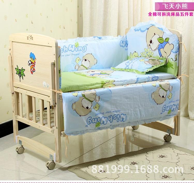 Фотография Promotion! 10PCS Bear baby bed set, baby crib bedding set, baby bedding bumper (bumper+matress+pillow+duvet)