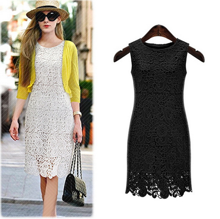 Summer Sleeveless Crochet Embroidery Lace Sundress Ladies Summer dress white Black Women's Dresses bitter Robes Slim workwear(China (Mainland))