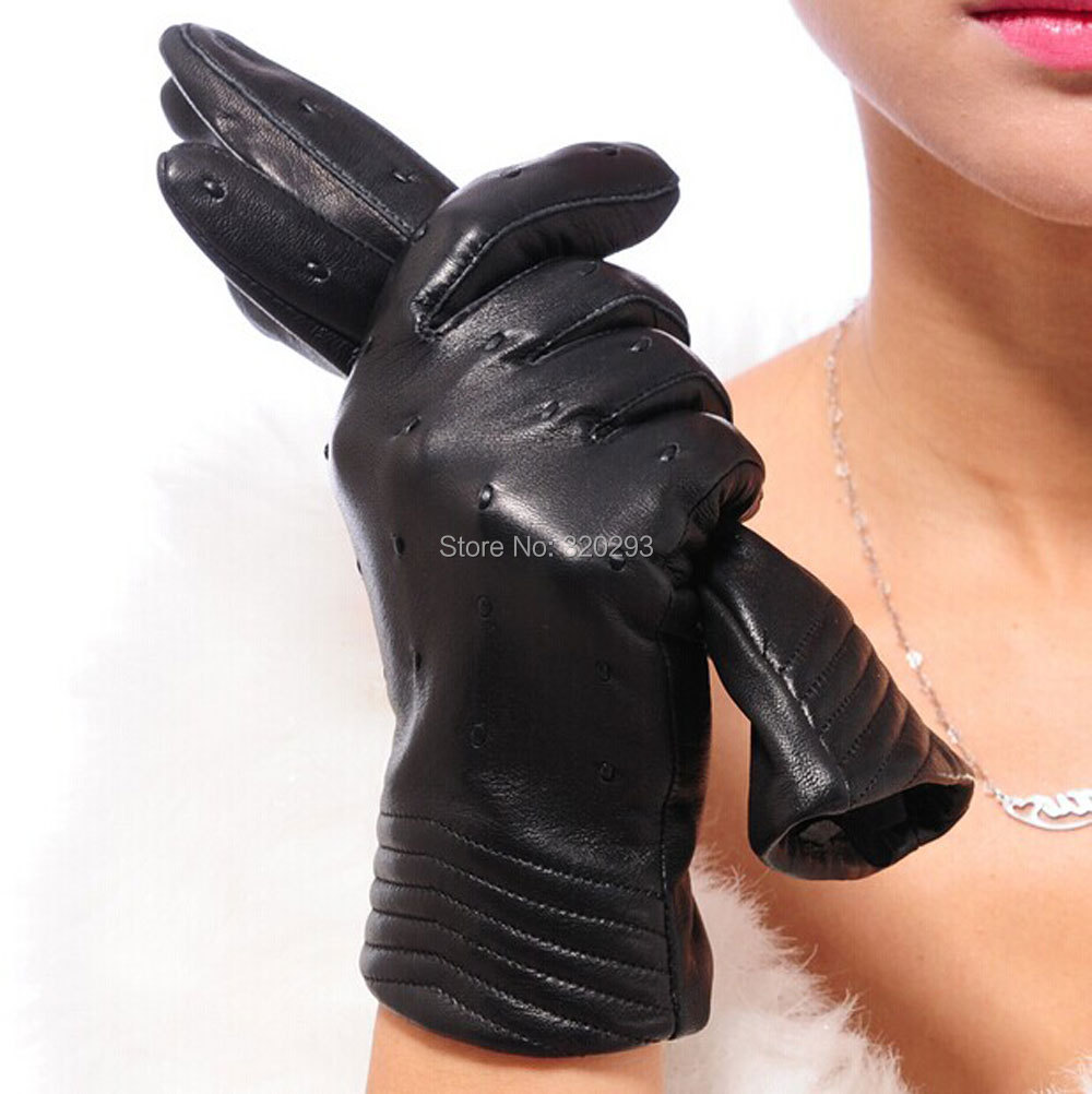 Fashion Women Genuine Sheepskin Leather Gloves V-shaped Points Driving F162 - Hishopping store