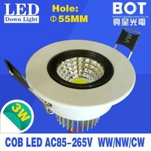 3W cob led down lamp high brightness recessed installation 2700-7000K energy saving home lighting ceiling lights(China (Mainland))
