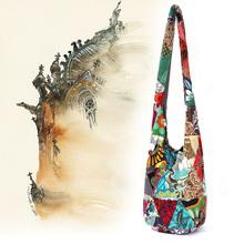 Hippie Patchwork Messenger bags cotton fabric Crossbody bag Thai women Large Boho Shoulder Gypsy bag travel tote Sling handbag