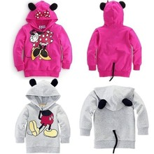 New Arrival Hot Selling Boys Girls Long Sleeves Hoodies Kids Mickey Minnie Cartoon Tops for 2-6 Years Old 5pcs/lot Free Shipping(China (Mainland))