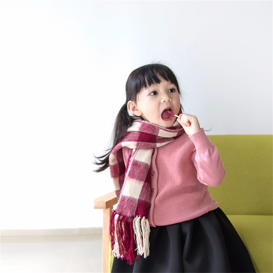 2016 Winter brand thick warm plaid tassel ladies tippet women girls scarf mother and daughter look wraps family matching scraves