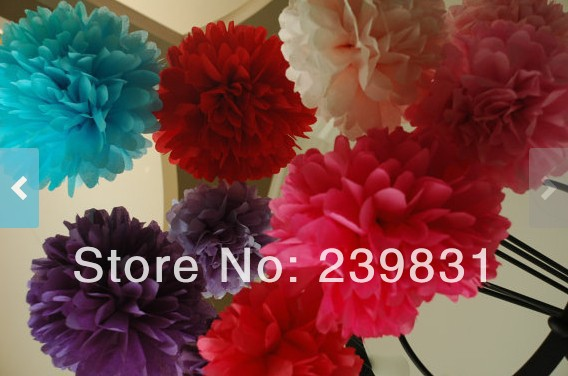 ON STOCK! wedding, shower decorations tissue Paper Pom poms - you choose your color & quantities, CUSTOM YOUR COLORS(China (Mainland))