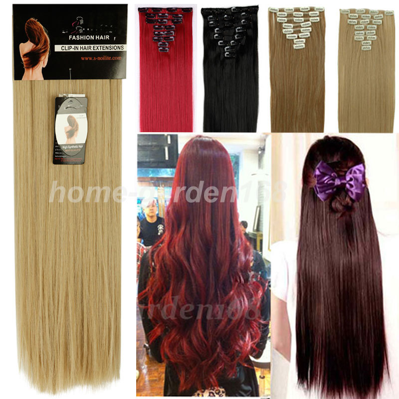 "FACTORY PRICE 24"" STRAIGHT 8PCS 60CM Real Full Head Clip in on Hair Extensions Extentions Straight MULTI-COLORS Premium Qulity(China (Mainland))"