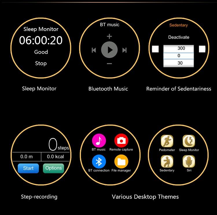 ถูก Lemado v360 smart watchที่มีฟังก์ชั่นsiri ip57กันน้ำสำหรับapple iphone a ndroid smartwatch sms whatsappภาษาฮิบรูเกาหลี