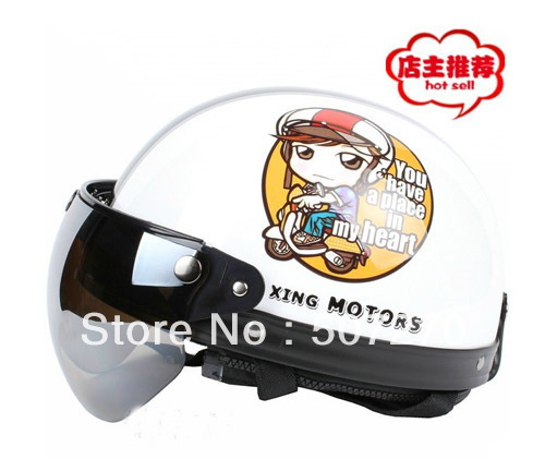 A.01 NEW ARRIVAL ! ABS Cycling Casco Open Face Casque Motorcycle White # Motor Girl Helmet & UV Lens & Visor Adult M L XL(China (Mainland))