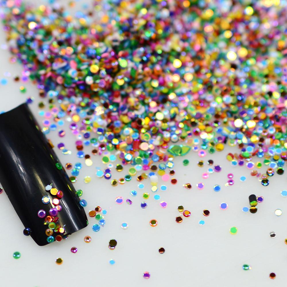Hot Sale 2g Mix Colors Acrylic Nail Art Glitter Powder Dust Nail Art Tip Decoration Kit Round Nail Glitters Bottle Y06