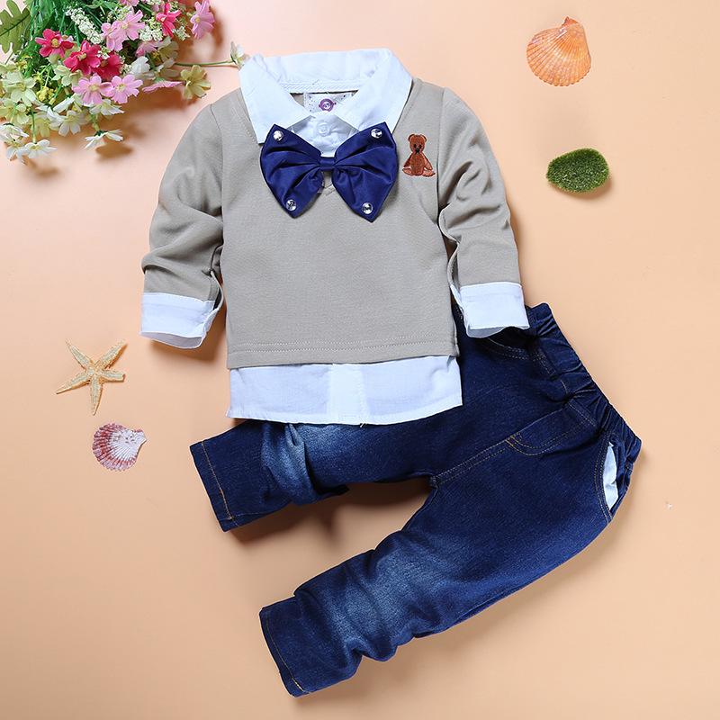 Fashion baby boys denim set Gentleman Children clothes Sets Cotton Long Sleeve T shirt Denim Suit