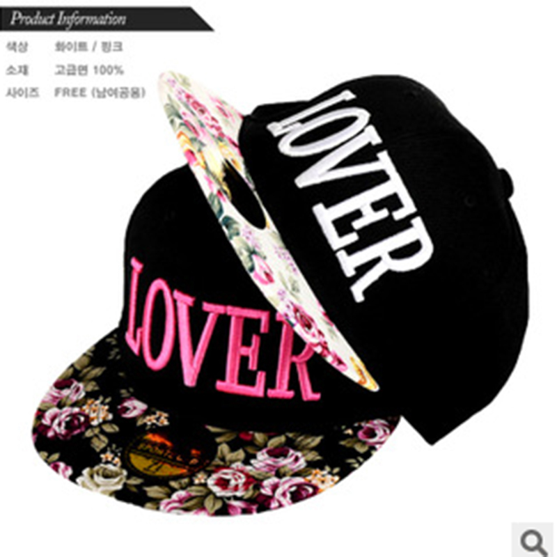 Fabric flowers LOVER caps 2015 Korean new 3D Embroidery Letters Baseball snapback hip hop cap sun hat for men women