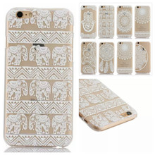 Mobile Phone Cases Luxury PC Clear Vintage White Paisley Flower Phone Bags Hard Housing Back Cover for iPhone 6 Plus 5.5″ Cases