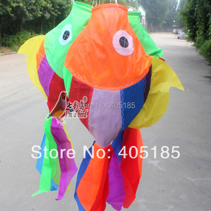 Free Shipping Outdoor Fun Sports Multicolor Fish Windsock Used To Hang On The Kte Or On Other Items(China (Mainland))