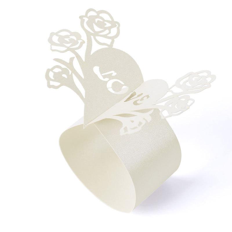 New 20 Pcs White Heart shaped Napkin Rings Wedding Holder Bridal Shower Favor