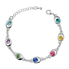 Free Shipping!!! Women's 7 Beans Style 18K White Gold Plated & Multicolor Crystal Bracelet Made With Swarovski Elements (5739)(China (Mainland))