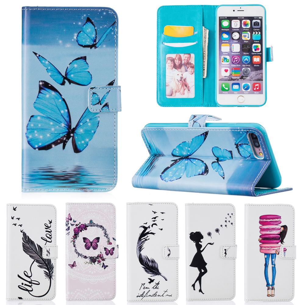 For Apple iPhone 7 Case Flip Leather Wallet Silicone Cover iPhone 7 7s Plus Case Butterfly For Girl iPhone 7Plus Cell Phone Case(China (Mainland))
