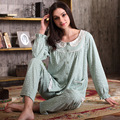 Autumn 2016 Women Pajama Sets 100 Cotton Sleepwear Full Sleeve Pijama Polka Dot Pajamas Round Neck