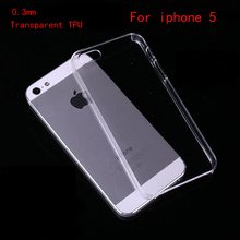 Hot Sale TPU Soft cover For iPhone 5S case Transparent clear for apple iphone 5 case ultra thin 0.3mm Phone cases Back Covers(China (Mainland))