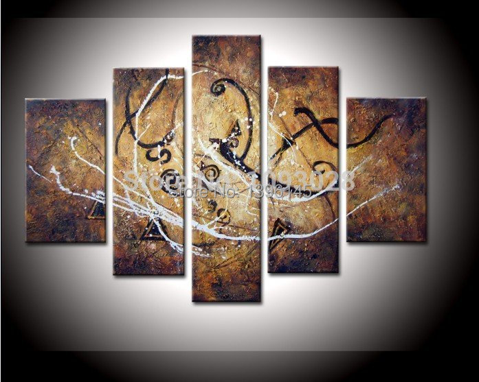 handmade abstract art notes 5 piece set oil painting on. Black Bedroom Furniture Sets. Home Design Ideas