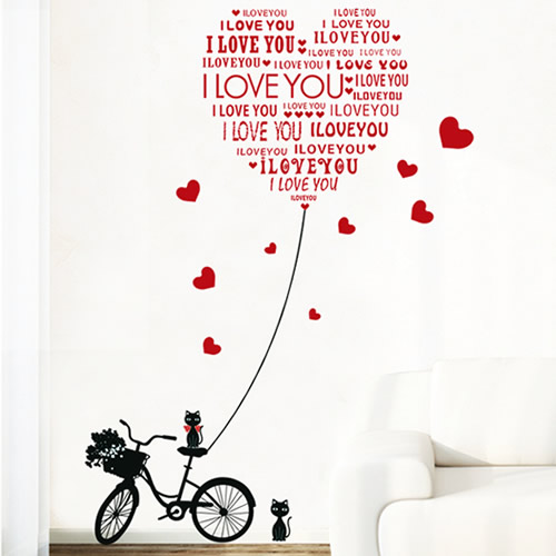 Diy Wall Stickers Cat Mural Bicycle Decals Letter Love