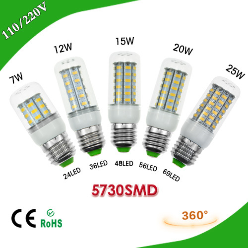 1Pcs 7W 12W 15W 20W 25W E27 LED Corn Bulb 220V Samsung SMD5730 LED lamp Spotlight 24LED 36LEDs,48LEDs,56LEDs,69LEDs For light(China (Mainland))