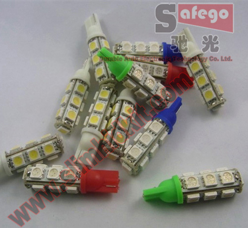 500pcs 1 year warranty t5 5050 13 smd for trunk lights wedge bulbs t10 led 5050 best t10 13 smd 5050 White red,yellow,blue,green(China (Mainland))