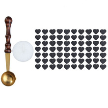1pcs Vintage Wax Stamp Sealing Wax Spoon Wood Handle Sealing Mini Melting Wax Spoon+70pcs Heart Shaped Sealing Wax Beads(China (Mainland))