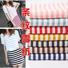 Pop style Striped print chiffon fabric DIY sewing for Dress T-shirt Pajamas Colorful black white blue red green coffee yellow(China (Mainland))