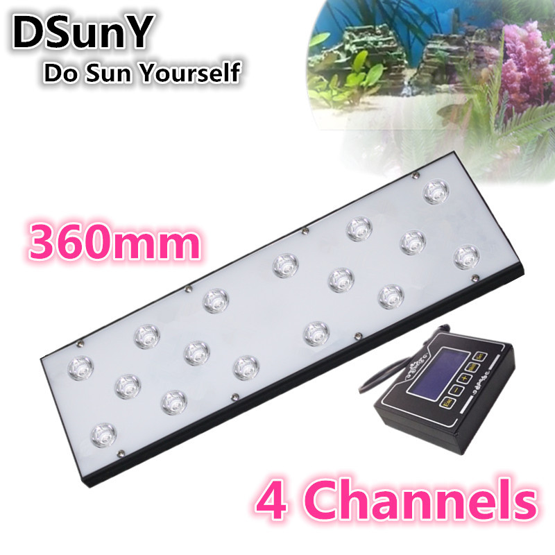 DSunY 40W 14inch 36cm programmable and 4 channels freshwater aquarium lighting led for plants grow refugium tank, no fan noise(China (Mainland))