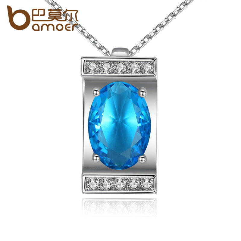 VOROCO Platinum Plated Oval Cutting Big Blue Stone Pendants Necklaces for Women Wedding Jewelry N100-BU(China (Mainland))