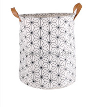 hot sale cotton fabric  foldable  laundry basket with PU handle ,storeage basket with two handles (China (Mainland))