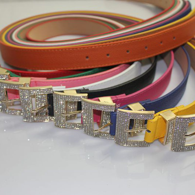 Fashion all-match pin buckle belt for women rhinestone agings candy color belts female free shipping 123(China (Mainland))