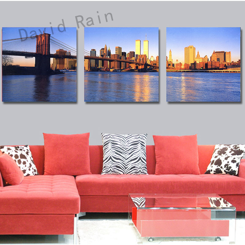 3 Panel Home Modern Decor landscape Paintings river and bridge wall picture Canvas Prints Picture Wall Art For Bedroom BKKF-24(China (Mainland))