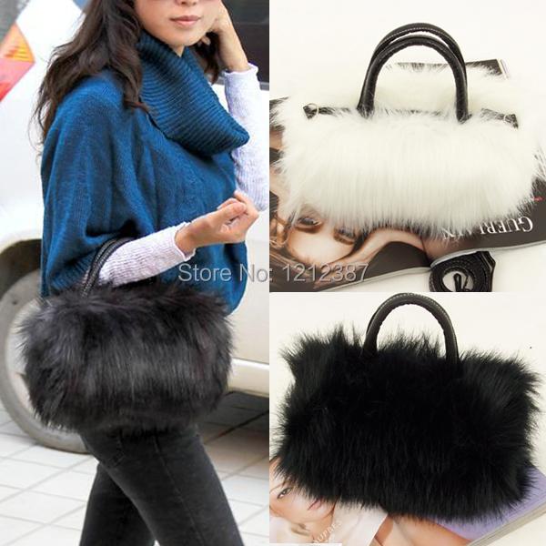 Fashion Women s Korean Style PU Leather Faux Fur Tote Clutch Shoulder Bag HB88