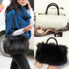 Fashion Women's Korean Style PU Leather& Faux Fur Tote Clutch Shoulder Bag HB88